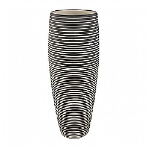 Keramikinė tamsiai pilka dryžuota vaza, RJR.John Rocha