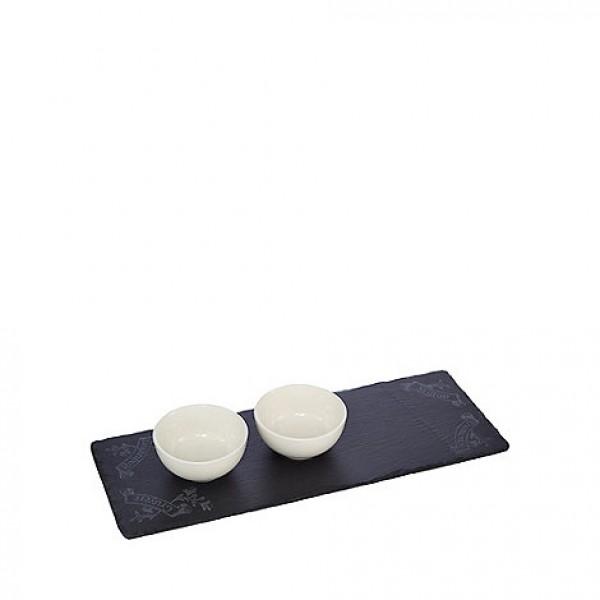 Akmens masės padėkliukas su 2 keramikiniais dubenėliais