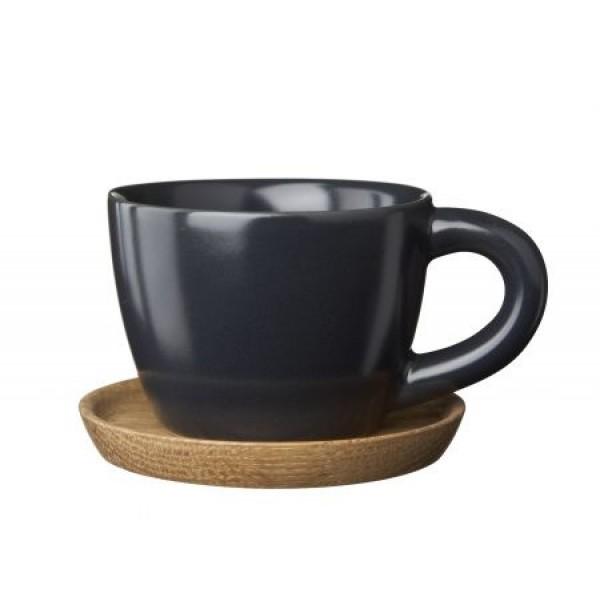 Espresso puodelis matinio grafito su medine lėkštute 0.1 L, IITTALA