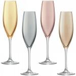Šampano taurės metalo blizgesio x 4 POLKA
