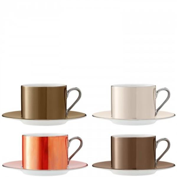 Puodelių su lėkštutėmis rinkinys x 4 metalo spalvų, POLKA