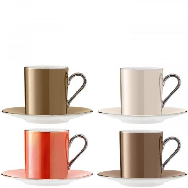 Espresso kavos puodelių su lėkštutėmis rinkinys x 4 metalo spalvų, POLKA