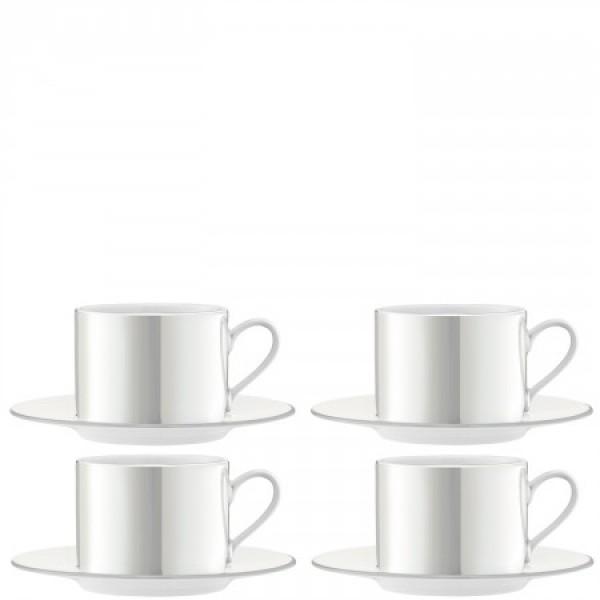 Arbatos/kavos puodeliai su lėkštutėmis x 4 PERLAS