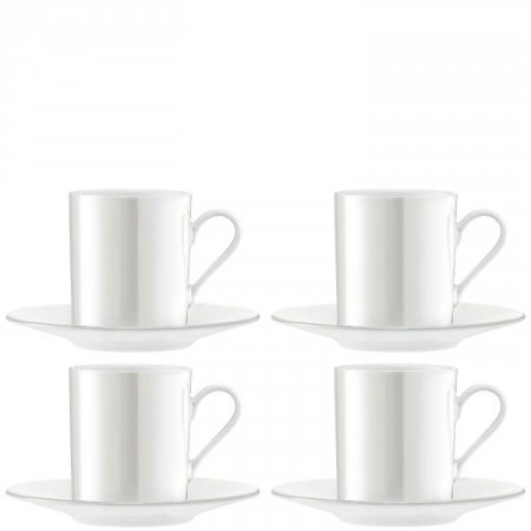Espresso kavos puodeliai su lėkštutėmis X 4 PERLAS