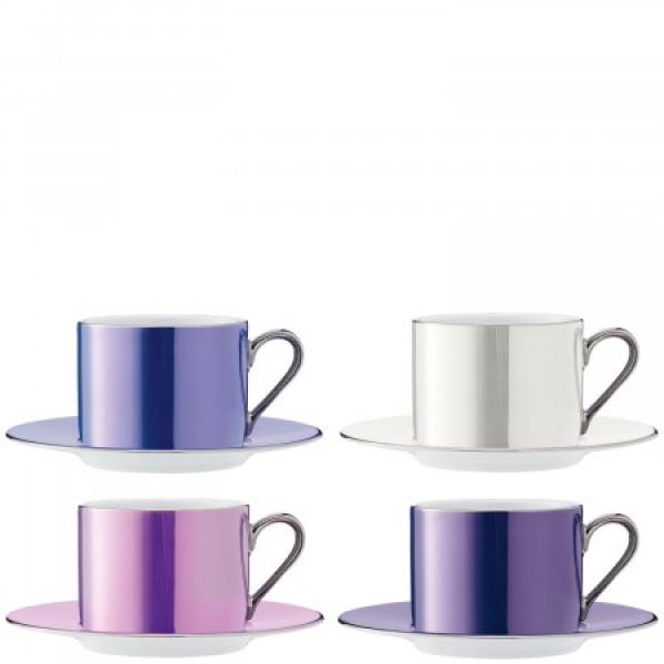 Puodelių su lėkštutėmis rinkinys x 4 pastelinių spalvų, POLKA